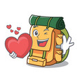 with heart backpack mascot cartoon style vector image
