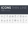 Fast Food Thin Line Icons vector image