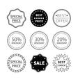 Set of nine black and white retro badges vector image