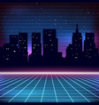 80s Retro Sci-Fi Background with city silhouette vector image vector image