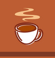 a cup coffee on brown vector image