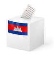 Ballot box with voting paper Cambodia vector image vector image