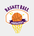 basketball tournament poster hand drawn cartoon vector image