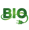 bio symbol with electrical plug vector image vector image