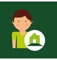 Boy cartoon save earth ecology house icon