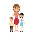 cartoon mother with two children a boy and a girl vector image