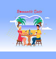 cartoon people sea beach travel romantic date vector image vector image