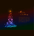 christmas card template with light christmas tree vector image vector image