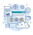 cloud computing data storage server web hosting vector image