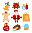 Collection of colorful Christmas icons or objects vector image vector image