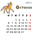 color horse calendar 2014 october vector image vector image
