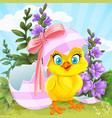 cute bachick hatched from an easter egg on a vector image vector image