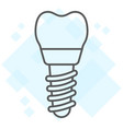 dental implant thin line icon stomatology vector image vector image
