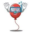 diving balloon character cartoon style vector image