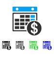 dollar calendar flat icon vector image vector image