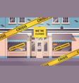 empty closed flower shop with yellow bankruptcy vector image vector image
