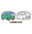 funny small retro bus or van coloring book vector image vector image