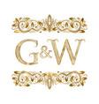 g and w vintage initials logo symbol vector image vector image