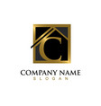 gold letter c house logo vector image vector image