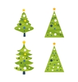 Green decorated Christmas tree with a yellow star vector image vector image