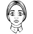hand drawn young pretty girl with four eyes vector image