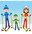 happy family skiing vector image