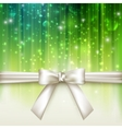 holiday green background with white bow vector image vector image