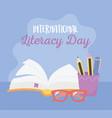 international literacy day open book pencils vector image vector image