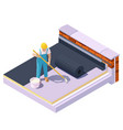 isometric worker at flat roinsulation vector image