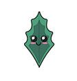 kawaii cute happy lnatural leaf vector image