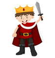 Kid in king costume with sword vector image vector image
