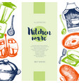 kitchen ware - color drawn vintage banner template vector image vector image