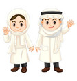kuwait kids in white costume vector image vector image