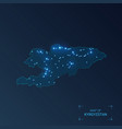 kyrgyzstan map with cities luminous dots - neon vector image vector image
