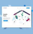 landing page template health point isometric vector image vector image