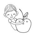 little boy with apple kawaii character vector image