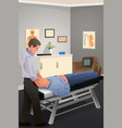 male chiropractor treating a patient vector image