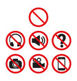 prohibition signs set safety on white background vector image vector image
