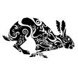 rabbit hare black white black-white entangle vector image vector image