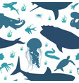 seamless pattern background of fish marine vector image