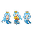 set of beautiful mermaid princesses with blue hair vector image