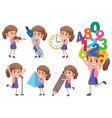 set of girl with math object vector image vector image