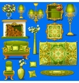 Set vintage furniture upholstered in green vector image vector image