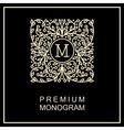 Stylish monogram logo design in Art Nouveau vector image vector image