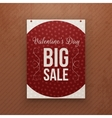 Valentines Day big Sale hanging red Poster vector image vector image