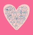 valentines day concept with love icons in line vector image vector image