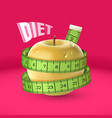 yellow fresh apple green measuring tape diet vector image vector image
