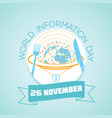 26 november world information day vector image vector image