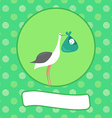 a cartoon of stork with newborn baby - baby vector image