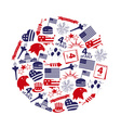 american independence day celebration icons in vector image